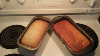 The one made with gluten-free flour always turns out better (the one on the Left was made with my gluten free blend).